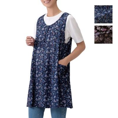 レディース トップス チュニック ポケット付 M~L LL~3L 花柄 ネイビー系 ブラック系   花柄フレアチュニック
