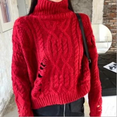 レディース ニットトップス ニット ケーブル編み ニット セーター ハイネック 長袖 ゆったり オーバーサイズ ルーズ カジュアル