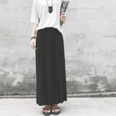 LAZA ブラック マキシ丈 プリーツ スカート  ハイウエスト 美脚 体型カバー  シンプル 韓国ファッション レディース