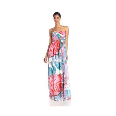 Donna Morgan レディース Laura Strapless ロング Chiffon プリント ドレス, Taffy, 2(海外取寄せ品)
