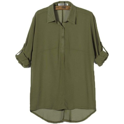[SHINKEL] ブラウス シフォン 体型 カバー 袖丈 調整可 シンプル 薄手 無地 レディース (グリーン, XL)