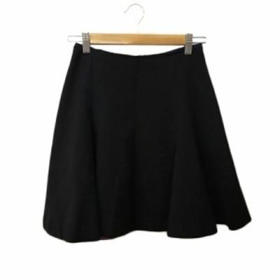 【中古】シップス SHIPS スカート フレア ミニ 無地 S 黒 ブラック レディース