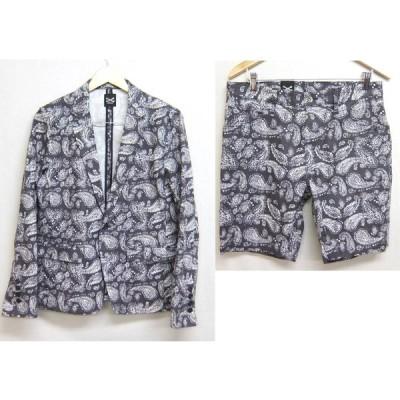 日本製 Malibu ペイズリー柄 サマー テーラードジャケット パンツ セットアップ L 上下セット ブレザー マリブ