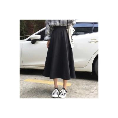 【送料無料】黒の半身裙スカート レディース 秋 年 ハイウエスト ルース 裾 学生 ファ   364331_A63761-7462764