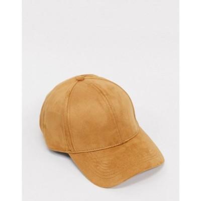 エイソス ASOS DESIGN メンズ キャップ 帽子 baseball cap in camel soft touch fabric ブラウン