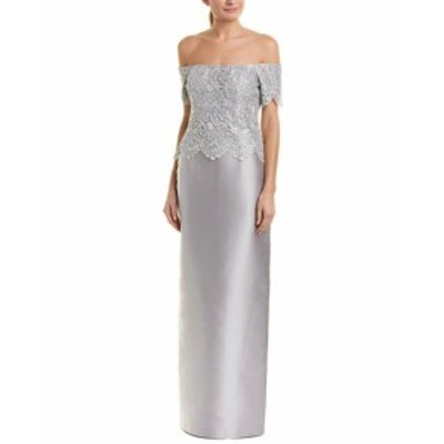 ファッション ドレス Teri Jon By Rickie Freeman Silk-Blend Gown 8 Grey