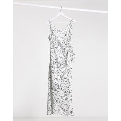 アンドアザーストーリーズ レディース ワンピース トップス & Other Stories polka dot knot detail midi dress in off-white