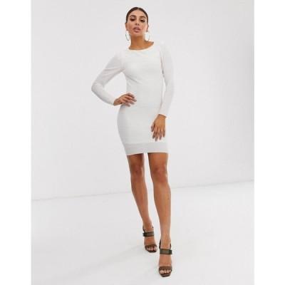 エイソス ASOS DESIGN レディース ワンピース ワンピース・ドレス open back plisse mini dress Ivory