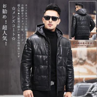 秋冬新作★ メンズレザージャケット ショート フード付き 加絨 暖かい 韓国スタイル 通勤 紳士 カジュアル かっこいい ファッション