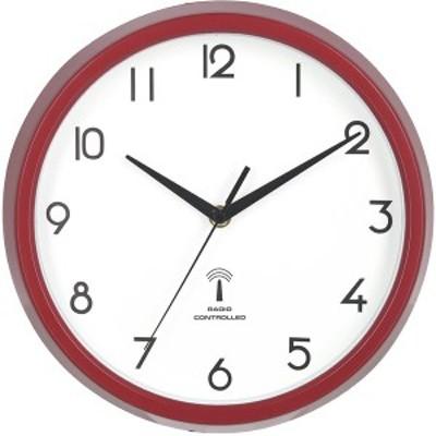 電波掛時計 カペラ Φ27cm レッド(RD)(27266)〔3個セット〕 〔送料無料〕