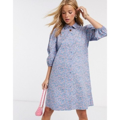 ピーシーズ レディース ワンピース トップス Pieces mini shirt dress with puff sleeves in blue ditsy floral