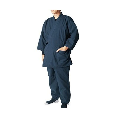 源氏庵 裏フリース中綿入り作務衣(さむえ)防寒作務衣 38-7801 (L, 紺)