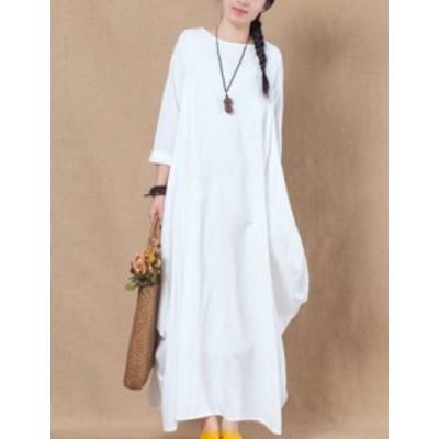 大きいサイズ ルーズ コットン ロング ワンピース ドレス #0583