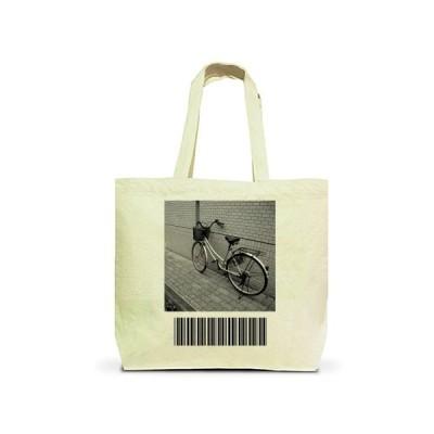 自転車とバーコード トートバッグL(ナチュラル)