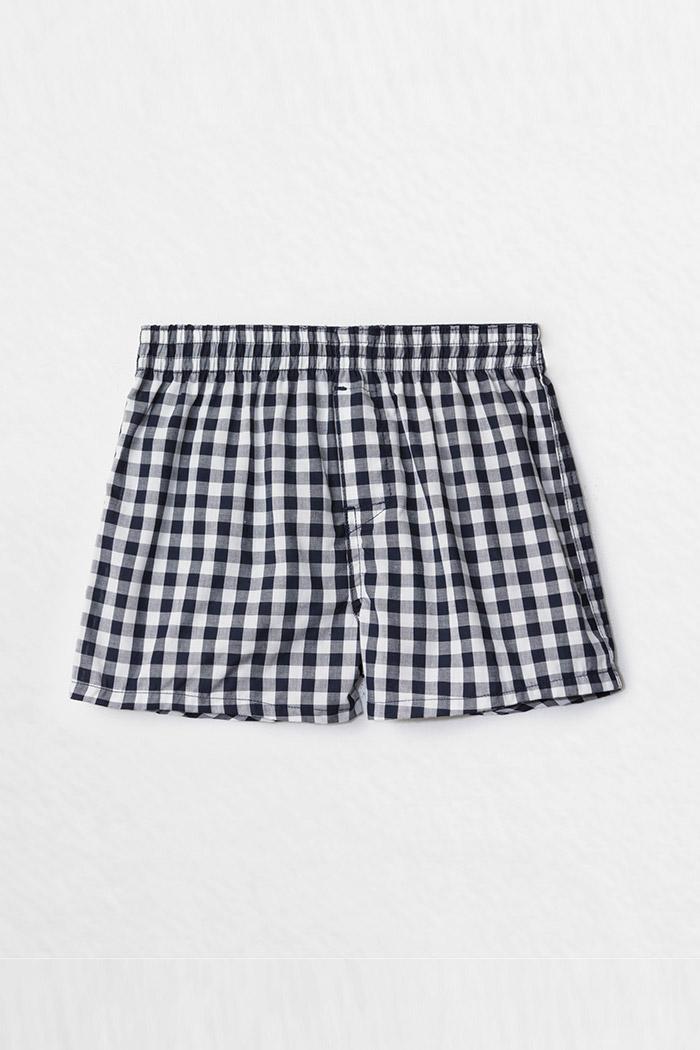 (男童)格紋控.平織純棉四角內褲 (藍/白格)