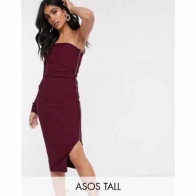 エイソス ASOS Tall レディース ワンピース ワンピース・ドレス ASOS DESIGN Tall one shoulder bandage midi dress プラム