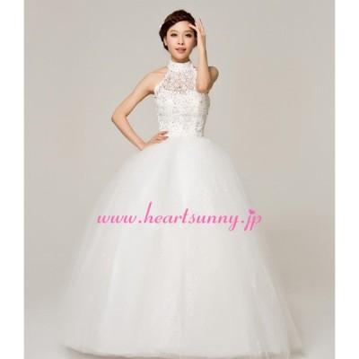 ウェディングドレス ビーズ飾りホローレースホルターネック E144