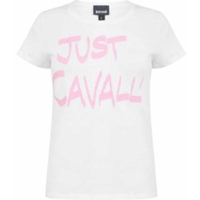 ジャスト カヴァリ JUST CAVALLI レディース Tシャツ ロゴTシャツ トップス logo t shirt WHITE/PINK