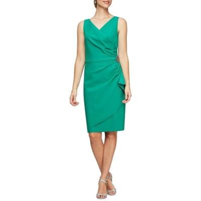 アレックスイブニングス レディース ワンピース トップス V-Neck Sleeveless Ruched Sheath Dress Jade