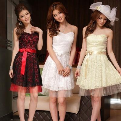 パーティードレス 大きいサイズ ぽっちゃり 送料無料 結婚式 ワンピース 裾シースルー透け レースドレス フォーマル F/2L/3L/4L 8224