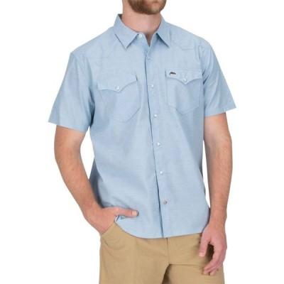 シムス Simms メンズ 半袖シャツ トップス No - Tellum Short - Sleeve Shirt Faded Denim Chambray