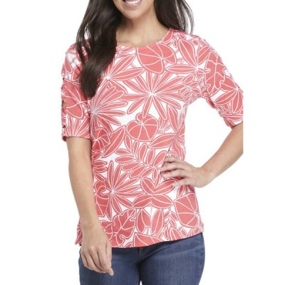 キム ロジャース レディース Tシャツ トップス Women's Elbow Cutout Sleeve Floral T-Shirt