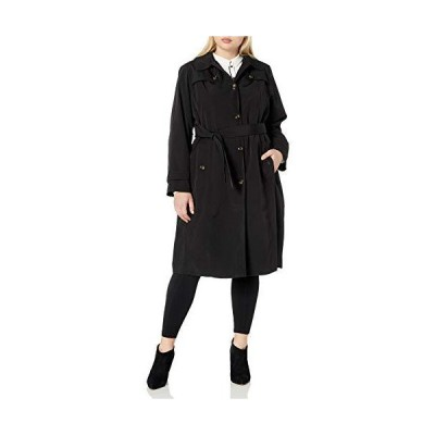 LONDON FOG Women's Single Breasted Belted Trench with Hood, Black, X-Small並