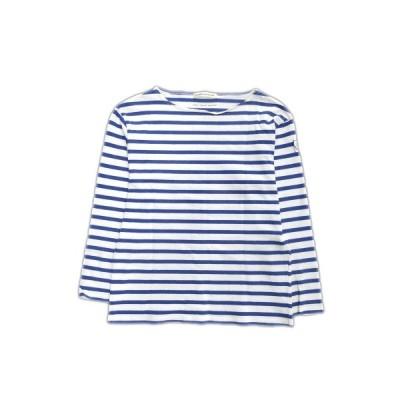【中古】マリンフランセーズ LA MARINE FRANCAISE ボーダー Tシャツ カットソー エンブレム 七分袖 1 白×青 レディース△5  【ベクトル 古着】