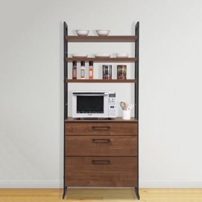 食器棚 レンジ台 幅84cm ダイニングボード レンジラック キッチン収納 ブラウン