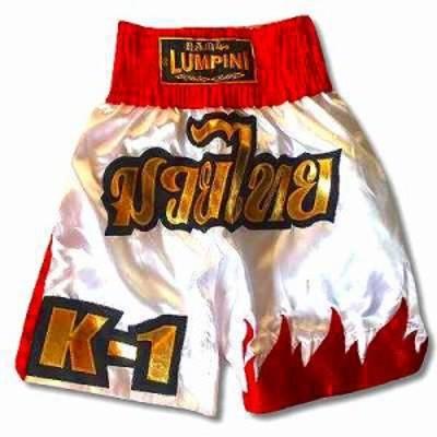新品 サテン 104 LUMPINI ボクシング パンツ S/M/L/XL 選択 K1白赤炎 /ムエタイ/トランクス/通販/大人/キッズ/ジュニア/子供