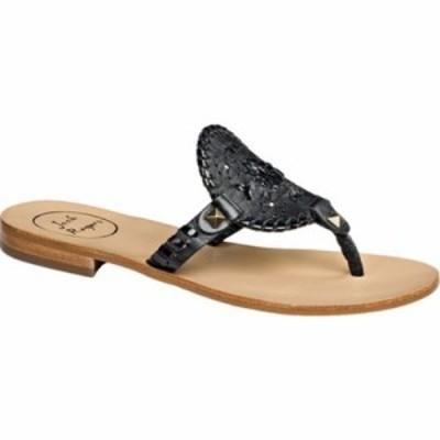ジャックロジャース ビーチサンダル Georgica Thong Sandal Black/Black Patent Leather