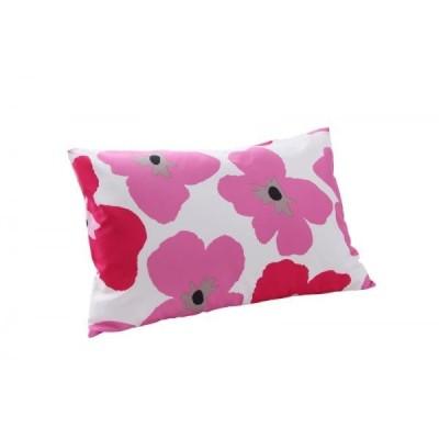 枕カバー(ピローケース) の単品1枚 43x63cm 色-フラワー柄スモークピンク/ 洗える