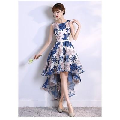 花柄 刺繍 ワンピース エレガント ロング パーティ ドレス