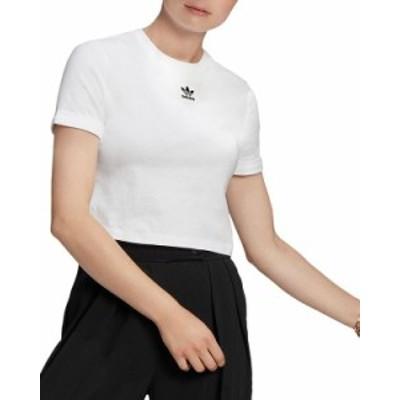 アディダス レディース シャツ トップス Cropped Logo Tee White