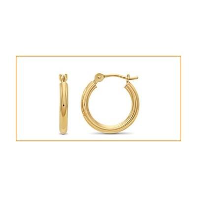 14k Yellow Gold 2mm Tube Polished Round Hoop Earrings, 14mm (0.55 inch Diameter)【並行輸入品】