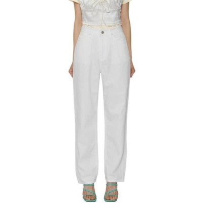 somedayif レディース パンツ White linen straight jeans