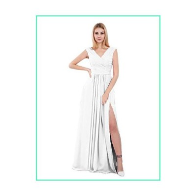 KKarine V-Neck A-line Floor Length Chiffon Plus Size Formal Party Dress Long Evening Gown with Side Slit (22W White)並行輸入品