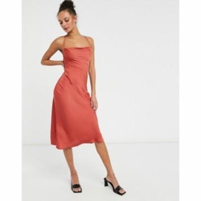 ローラ メイ Lola May レディース ワンピース スリップドレス ワンピース・ドレス satin slip dress in red with strapping detail レッ