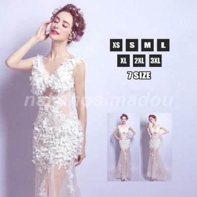 ウエディングドレス マーメイドライン トレーンドレス ノースリーブ フラワーブラ ロングドレス 細身 結婚式 花嫁 新作