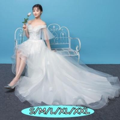ウェディングドレス 結婚式ワンピース きれいめ 花嫁 ドレス ハイウエスト Aラインワンピース エレガントなワンピース