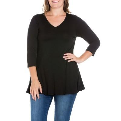 24セブンコンフォート カットソー トップス レディース Women's Plus Size Three Quarter Sleeves V-Neck Tunic Top Black