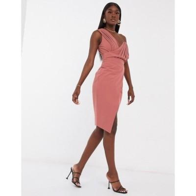 ラビッシュアリス レディース ワンピース トップス Lavish Alice one shoulder midi dress in rose