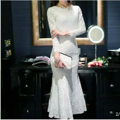 全2色 マーメイド ドレス ワンピース レース ロング丈 スカラップ 上品 大人っぽい デコルテ 秋冬