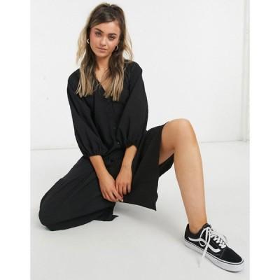 エイソス ASOS DESIGN レディース ワンピース マキシ丈 シャツワンピース Asos Design Button Through Textured Smock Maxi Shirt Dress In Black ブラック