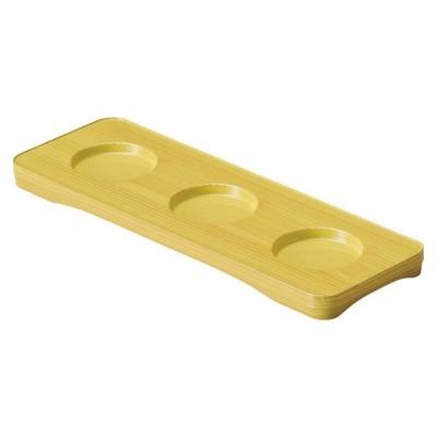 和食器 盛器 / (A)三点珍味台 白木 寸法: 26.1 x 9.1 x 1.6cm・穴内寸5.1φ x 0.6cm 95g