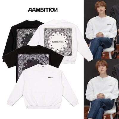BTS JIN 着用[aambition]アアンビション ペイズリースエットシャツ 半袖Tシャツ ブラック ホワイト防弾少年団
