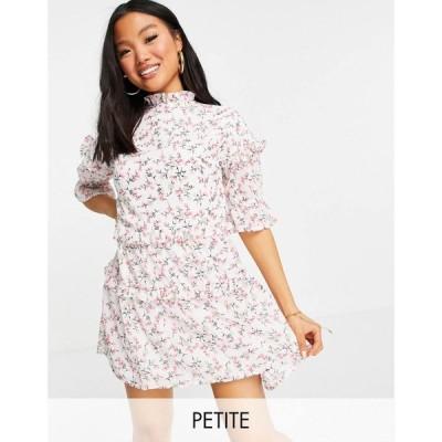 インフルエンス Influence Plus レディース ワンピース ワンピース・ドレス Influence Petite mini dress in white floral print ホワイトマルチ