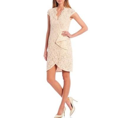 ヴィンスカムート レディース ワンピース トップス V-Neck Cap Sleeve Front Ruffle Lace Sheath Dress Ivory
