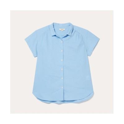 【エーグル】 DFT コットン×リネンシャツ レディース ブルー M AIGLE