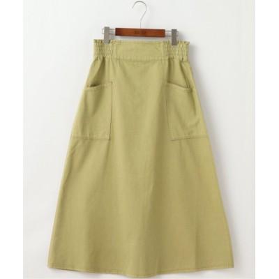 (DOUBLE NAME/ダブルネーム)製品染めウエストシャーリングスカート/レディース 黄緑
